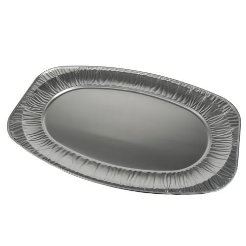 3 Servierplatten, Alu oval 54,7 cm x 35,8 cm