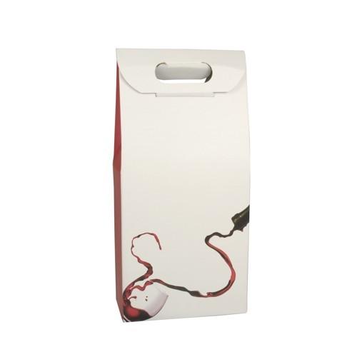 """Wein-Tragekartons 37,5 cm x 18 cm x 9 cm rot/weiss """"Rotwein"""" für 2 Flaschen"""