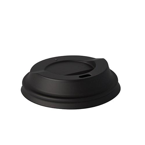 """50 Dom-Deckel, C-PLA """"pure"""" rund Ø 8 cm · 2,1 cm schwarz"""
