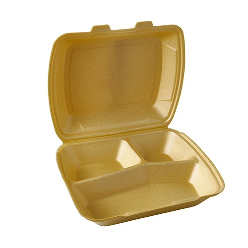 100 Menüboxen mit Klappdeckel, XPS 3-geteilt 7,5 cm x 24,3 cm x 20,8 cm gold