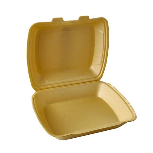 100 Menüboxen mit Klappdeckel, XPS ungeteilt 7,5 cm x 24,3 cm x 20,8 cm gold