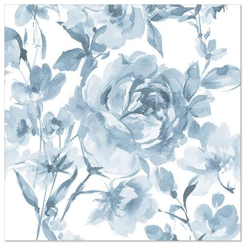 """50 Servietten """"ROYAL Collection"""" 1/4-Falz 40 cm x 40 cm blau """"Rose"""""""