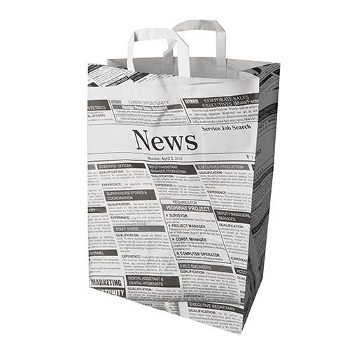 """50 Tragetaschen, Papier 44 cm x 32 cm x 17 cm """"Newsprint"""" mit Tragegriff"""