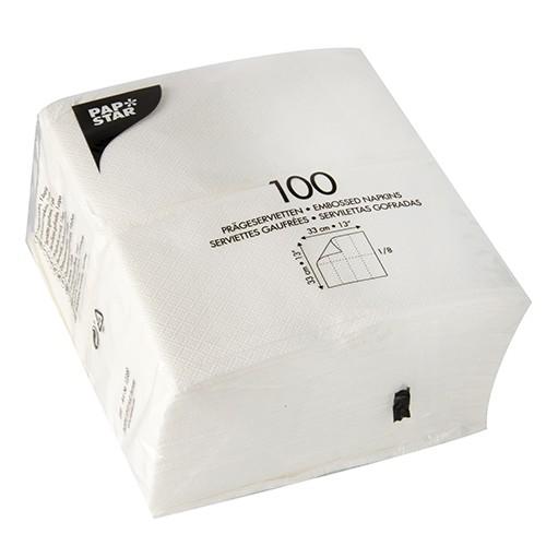 1000 Servietten, 1-lagig 1/8-Falz 33 cm x 33 cm weiss
