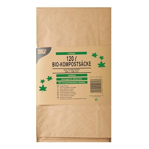 3 Kompostsäcke aus Papier 120 l 108 cm x 69 cm x 21,5 cm braun , 2-lagig