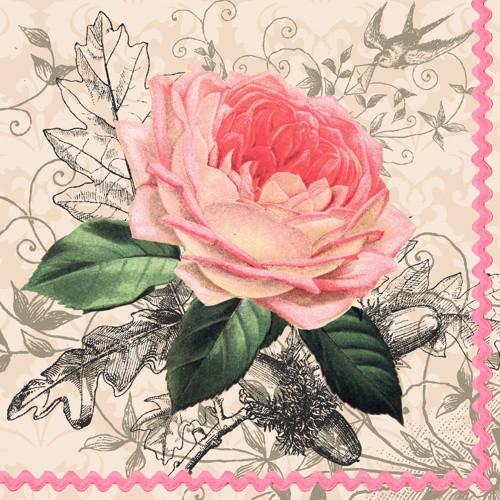 """20 Servietten, 3-lagig 1/4-Falz 33 cm x 33 cm """"Charming Rose"""""""