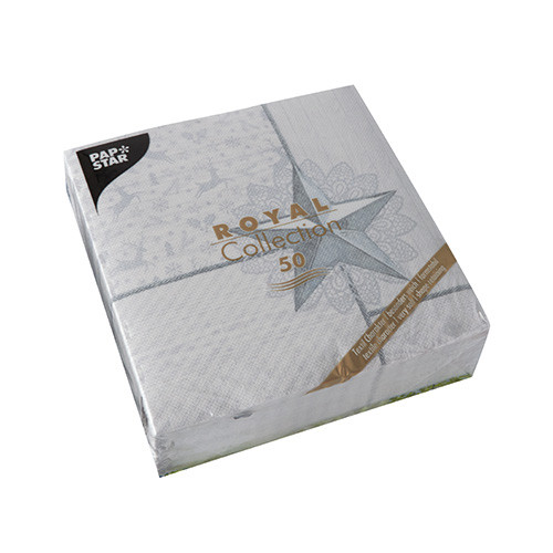 """50 Servietten """"ROYAL Collection"""" 1/4-Falz 40 cm x 40 cm weiss """"Rising Star"""""""