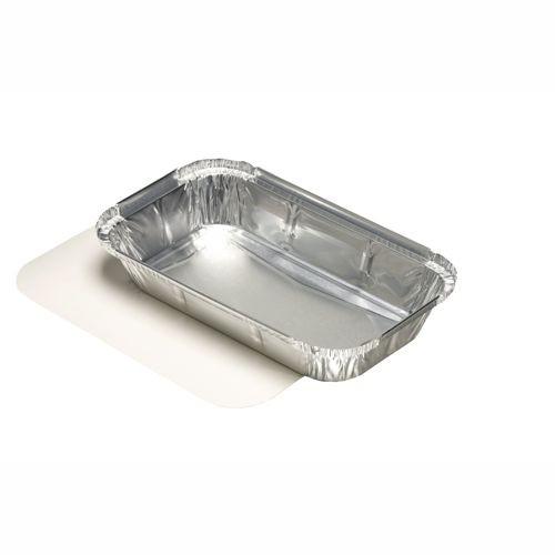 10 Schalen, Alu + Einlegedeckel, PP-beschichtet eckig 0,65 l 3,4 cm x 13 cm x 22 cm für Lasagne