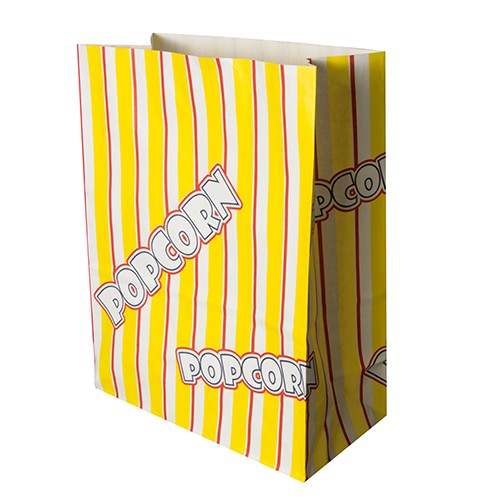 "100 Popcorn Tüten, Pergament-Ersatz 4,5 l 24,5 cm x 19 cm x 9,5 cm ""Popcorn"" fettdicht"