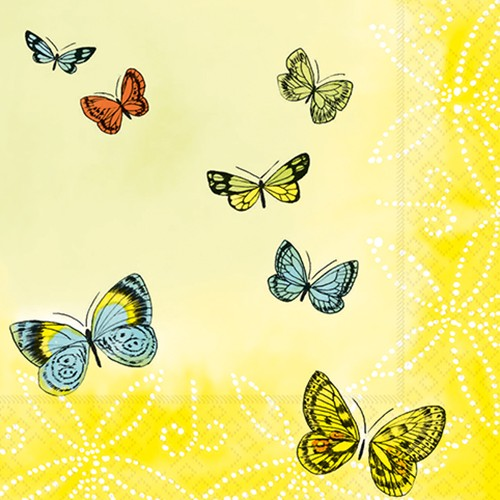 """20 Servietten, 3-lagig 1/4-Falz 33 cm x 33 cm """"Papillons"""""""