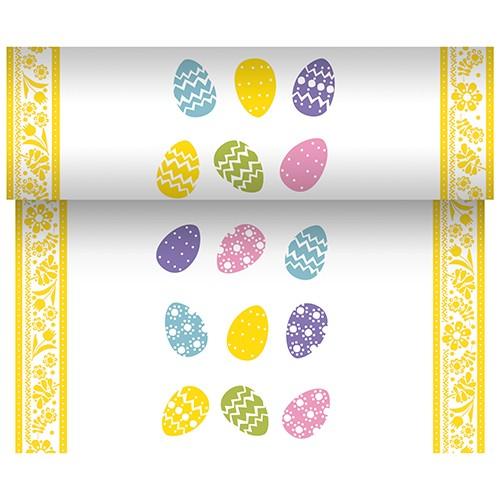 """Tischläufer, stoffähnlich, Airlaid 24 m x 40 cm """"Coloured Eggs"""""""