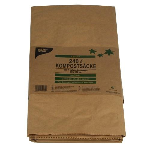 2 Kompostsäcke, 2-lagiges Kraftpapier 240 l 115 cm x 80 cm x 30 cm braun , 2-lagig