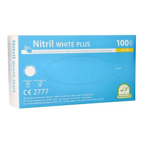 """100 """"Medi-Inn®"""" Handschuhe, Nitril puderfrei """"White Plus"""" weiss Größe S"""