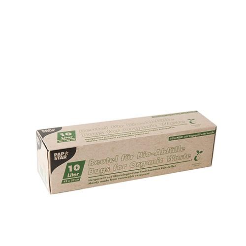 15 Kompostbeutel, Bio-Folie 10 l 42 cm x 50 cm grün mit Tragegriff