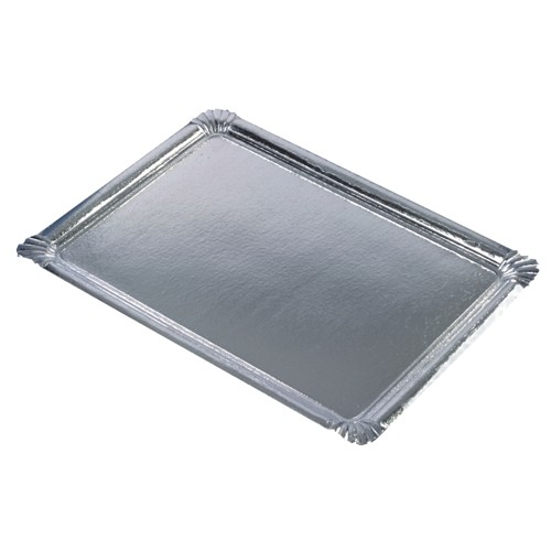 10 Servierplatten, Pappe, PET-beschichtet eckig 34 cm x 45,5 cm silber