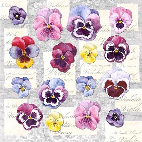 "20 Servietten, 3-lagig 1/4-Falz 33 cm x 33 cm ""Violetta"""
