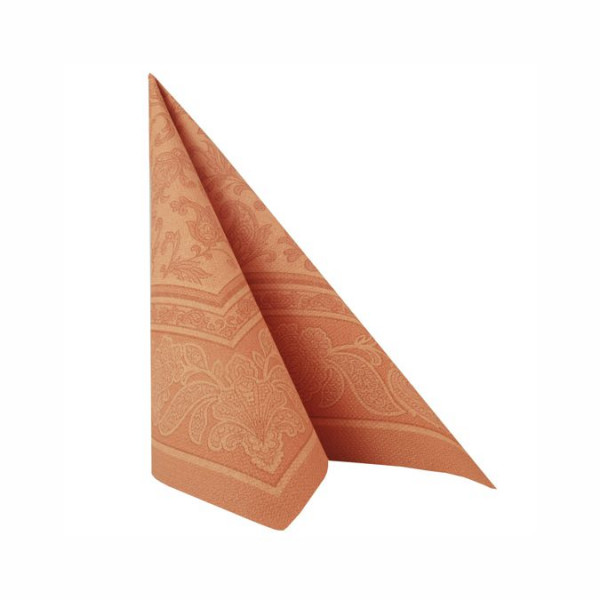"50 Servietten ""ROYAL Collection"" 1/4-Falz 40 cm x 40 cm terracotta ""Ornaments"""