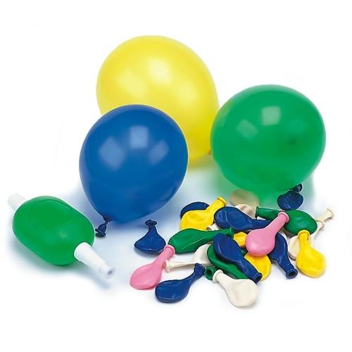 50 Luftballons mit Pumpe Ø 8,5 cm farbig sortiert