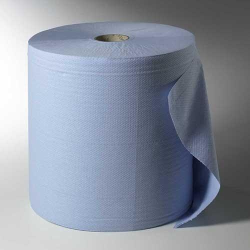 Putzrollen, 3-lagig Ø 38 cm · 38 cm x 36 cm blau 1.000 Abrisse, Hülse Ø 7 cm