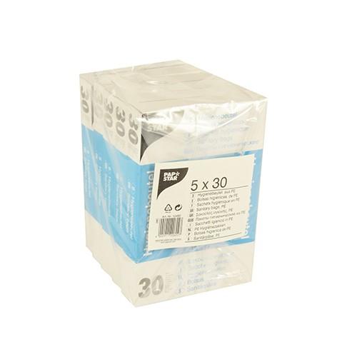 150 Hygienebeutel 28,5 cm x 8 cm x 7 cm weiss im Spenderkarton