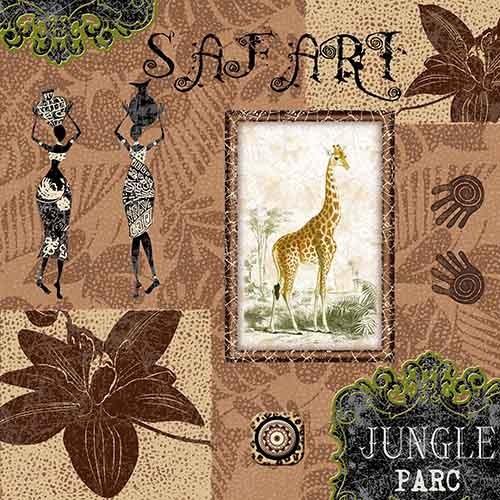 """20 Servietten, 3-lagig 1/4-Falz 33 cm x 33 cm """"Jungle Parc"""""""