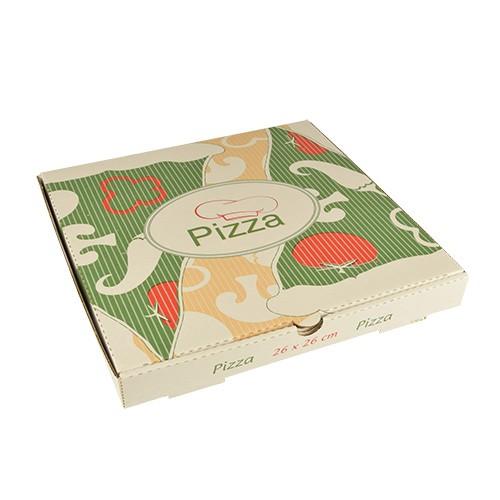 """100 Pizzakartons, Cellulose """"pure"""" eckig 26 cm x 26 cm x 3 cm"""