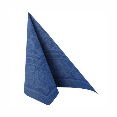 "50 Servietten ""ROYAL Collection"" 1/4-Falz 40 cm x 40 cm dunkelblau ""Ornaments"""