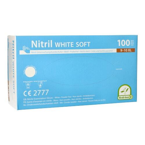 """100 """"Medi-Inn®"""" Handschuhe Nitril puderfrei """"White Soft"""" weiss White Soft, Größe XL"""