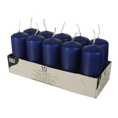10 Stumpenkerzen Ø 40 mm · 90 mm dunkelblau