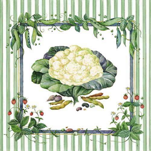 "20 Servietten, 3-lagig 1/4-Falz 33 cm x 33 cm grün ""Vegetables"""