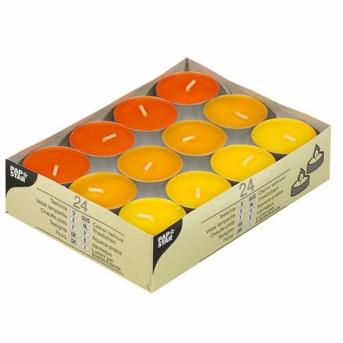 """24 Teelichte Ø 38 mm · 16 mm """"gelb, orange, borneo"""""""