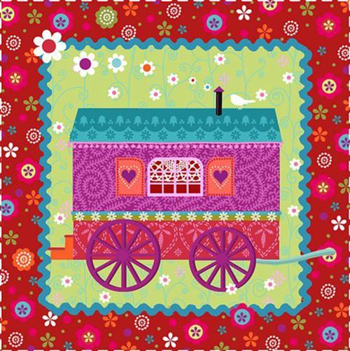 "20 Servietten, 3-lagig 1/4-Falz 33 cm x 33 cm ""Gypsy Caravan"""