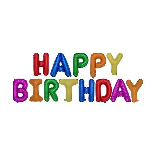 "Folienluftballon-Set farbig sortiert ""Happy Birthday"""