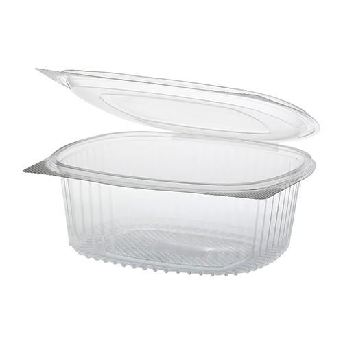 50 Feinkost- und Salatschalen mit Klappdeckel, R-PET oval 1000 ml 6,6 cm x 15,8 cm x 18,4 cm klar