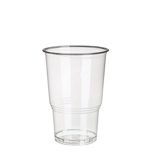 """25 Kaltgetränkebecher, PLA """"pure"""" 0,25 l Ø 7,8 cm · 11 cm glasklar mit Schaumrand"""