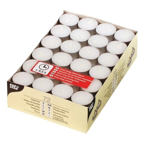 72 Teelichte Ø 39 mm · 17,5 mm weiss · mit langer Brenndauer 6,5 h