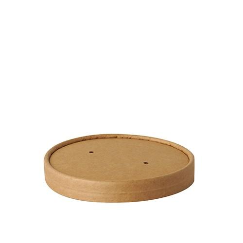 """25 Deckel für Suppenbecher, Pappe """"pure"""" rund Ø 11,5 cm · 1,6 cm braun """"100% Fair"""""""