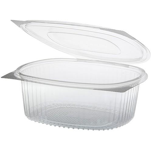 50 Feinkost- und Salatschalen mit Klappdeckel, R-PET oval 1500 ml 7,6 cm x 18,2 cm x 20,8 cm klar