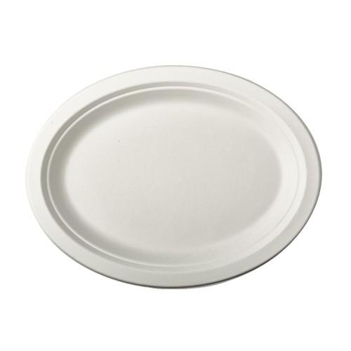 """50 Teller, Zuckerrohr """"pure"""" oval 26 cm x 20 cm x 2 cm weiss"""