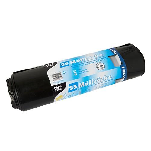 25 Müllsäcke, LDPE 120 l 110 cm x 70 cm schwarz extra stark und extra reißfest