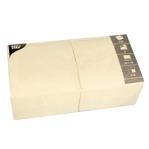 250 Servietten, 3-lagig 1/4-Falz 40 cm x 40 cm creme