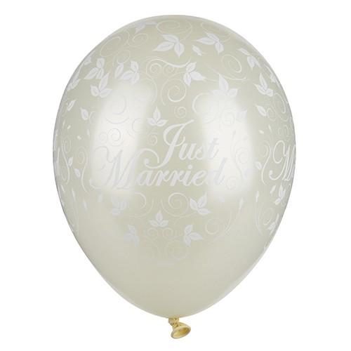 """30 Luftballons Ø 29 cm elfenbein """"Just Married"""" metallic"""