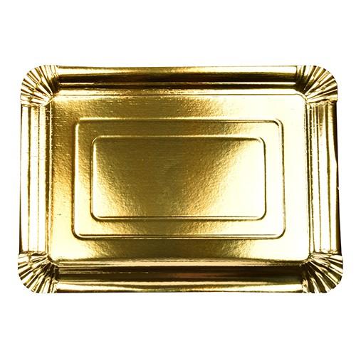 10 Servierplatten, Pappe eckig 24 cm x 33 cm gold beschichtet