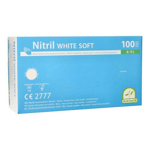 """100 """"Medi-Inn®"""" Handschuhe Nitril puderfrei """"White Soft"""" weiss White Soft, Größe L"""