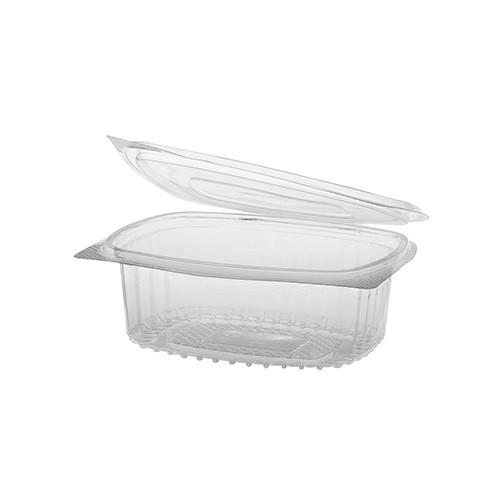 50 Feinkost- und Salatschalen mit Klappdeckel, R-PET oval 375 ml 5 cm x 11,5 cm x 14,4 cm klar