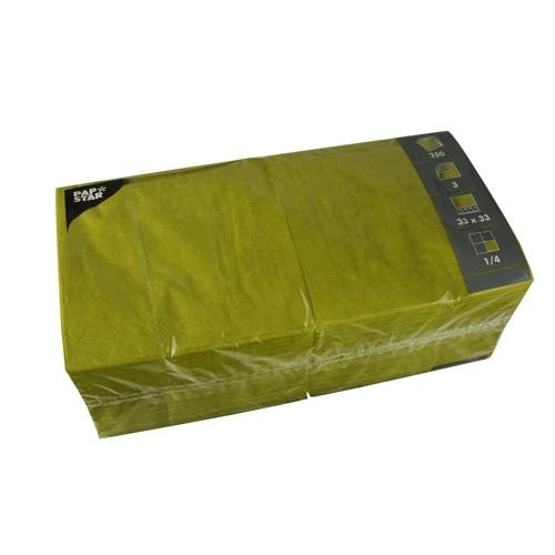 250 Servietten, 3-lagig 1/4-Falz 33 cm x 33 cm olivgrün