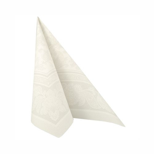 "50 Servietten ""ROYAL Collection"" 1/4-Falz 40 cm x 40 cm weiss ""Ornaments"""