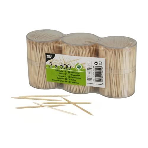 1500 Zahnstocher, Holz rund 6,7 cm im Spender