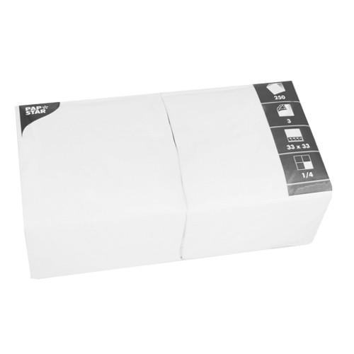 250 Servietten, 3-lagig 1/4-Falz 33 cm x 33 cm weiss