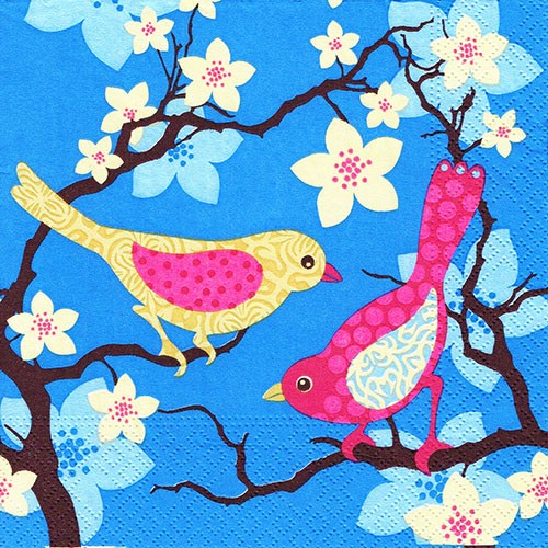 "20 Servietten, 3-lagig 1/4-Falz 33 cm x 33 cm ""Patterned Birds"""